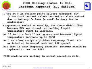 PHOS Cooling status (1 Oct) Incident happened (ECV failure)