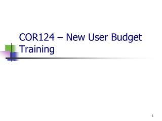 COR124 – New User Budget Training