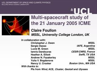 Multi-spacecraft study of  the 21 January 2005 ICME