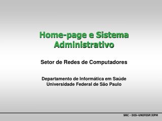 Home-page e Sistema Administrativo