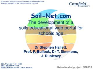 Soil-Net The development of a soils educational web portal for schools age