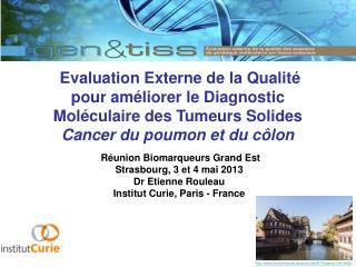 Réunion Biomarqueurs Grand Est Strasbourg, 3 et 4 mai 2013 Dr Etienne Rouleau