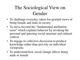 The Sociological View on Gender
