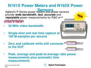 N191X Power Meters and N192X Power Sensors