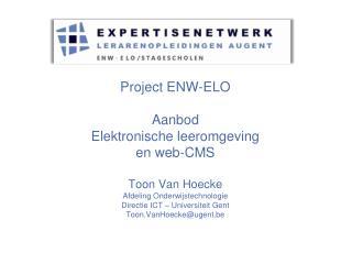 Aanbod van het project ENW-ELO