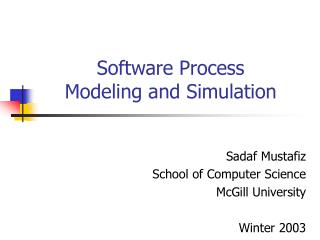 Software Process  Modeling and Simulation