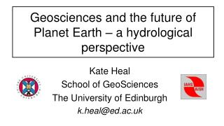 Geosciences and the future of Planet Earth – a hydrological perspective
