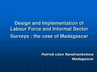 Design and Implementation of Labour Force and Informal Sector Surveys : the case of Madagascar