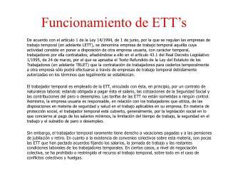 Funcionamiento de ETT's