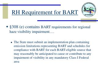 RH Requirement for BART