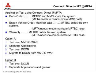 Connect: Direct – M/F @MFTA