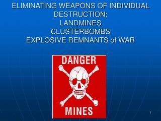 ELIMINATING WEAPONS OF INDIVIDUAL DESTRUCTION:  LANDMINES  CLUSTERBOMBS  EXPLOSIVE REMNANTS of WAR