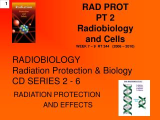 RAD PROT PT 2 Radiobiology and Cells WEEK 7 – 9  RT 244   (2006 – 2010)