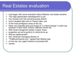 Real Estates evaluation