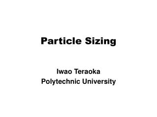 Particle Sizing