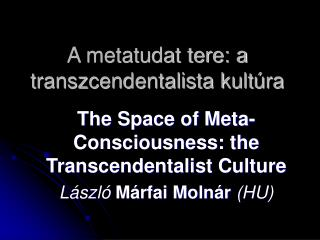 A metatudat tere: a transzcendentalista kultúra