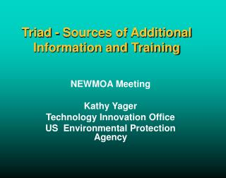Triad - Sources of Additional Information and Training