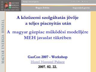 GasCon 2007 - Workshop Hotel Novotel Palace 2007. 02. 22.