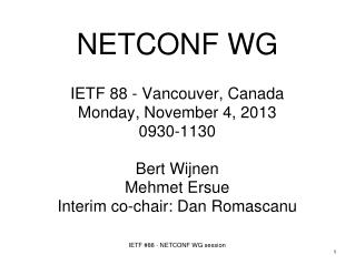 NETCONF WG