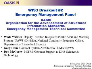 WIS3 Breakout #2 Emergency Management Panel