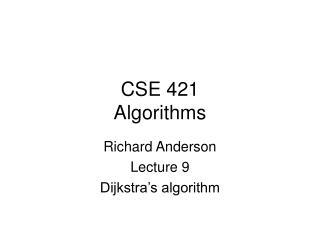 CSE 421 Algorithms