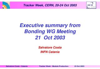 Executive summary from Bonding WG Meeting  21  Oct 2003