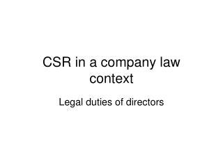 CSR in a company law context