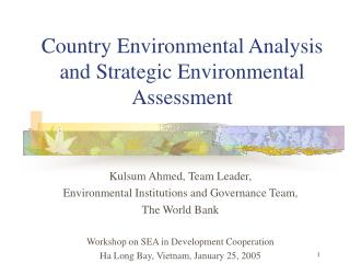 Country Environmental Analysis and Strategic Environmental Assessment