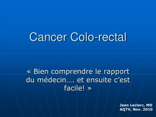 Cancer Colo-rectal