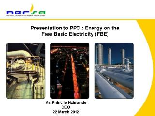 Presentation to PPC : Energy on the  Free Basic Electricity (FBE)
