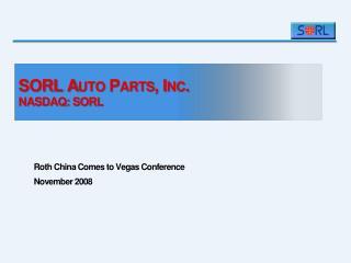 SORL Auto Parts, Inc. NASDAQ: SORL