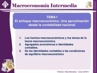 Los hechos macroeconómicos y los temas de la teoría macroeconómica.
