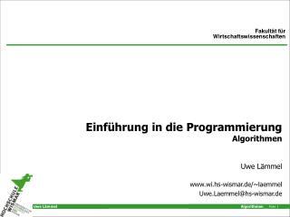 Einführung in die Programmierung Algorithmen