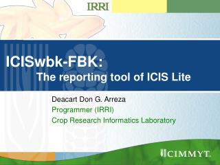 ICISwbk-FBK:           The reporting tool of ICIS Lite