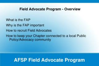 AFSP Field Advocate Program