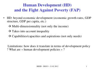 Human Development (HD) and the Fight Against Poverty (FAP)