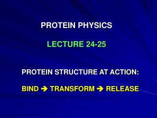 PROTEIN PHYSICS LECTURE 24-25