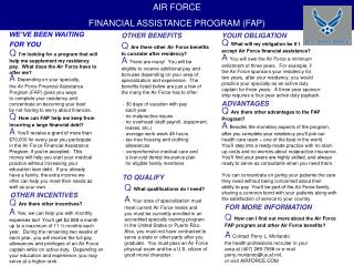 AIR FORCE  FINANCIAL ASSISTANCE PROGRAM (FAP)