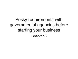Pesky requirements with governmental agencies before starting your business