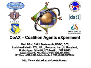 CoAX – Coalition Agents eXperiment AIAI, BBN, CMU, Dartmouth, DSTO, GITI,