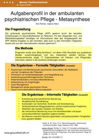 Aufgabenprofil in der ambulanten psychiatrischen Pflege - Metasynthese Dirk Richter, Sabine Hahn