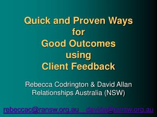Link between Outcomes &  Worker-Client Relationship