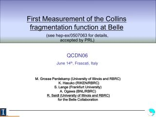 First Measurement of the Collins fragmentation function at Belle