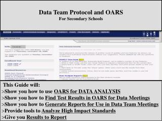 Data Team Protocol and OARS For Secondary Schools