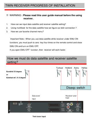 How can we input data satellite and receiver satellite setting ?