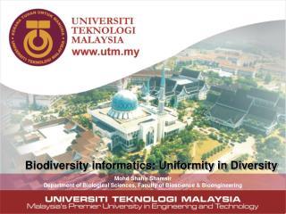 Biodiversity informatics: Uniformity in Diversity