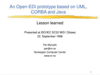 An Open-EDI prototype based on UML, CORBA and Java