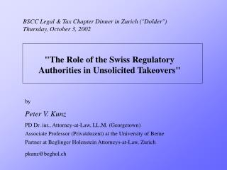 "BSCC Legal & Tax Chapter Dinner in Zurich ( "" Dolder "" ) Thursday, October 3, 2002"