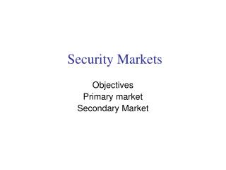 Security Markets