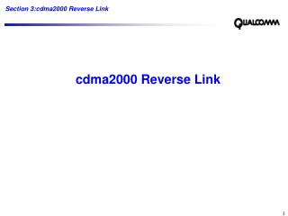 cdma2000 Reverse Link